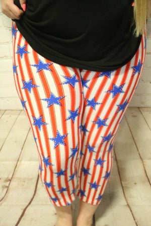 Living the American Dream Red and White Stripes with Blue Stars Capri Legging - 12-20