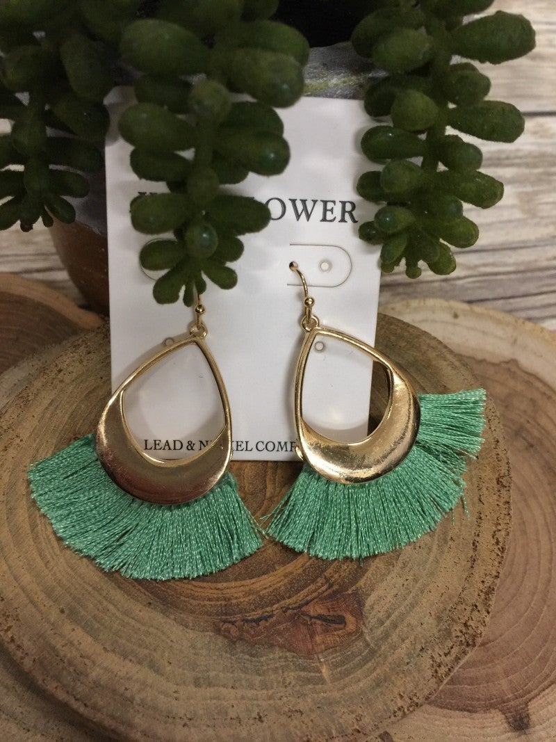 Into The Wind Teardrop Earrings with Fringe- Multiple Colors