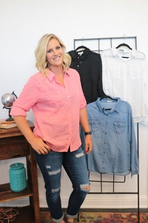 Make Things Easy Button Down Top In Multiple Colors