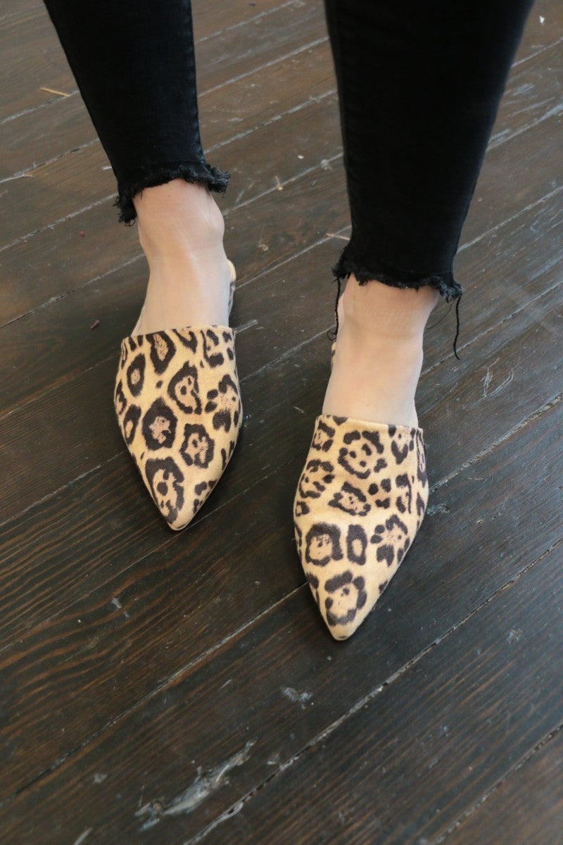 Give Me A Break Leopard Pointy Toe Mules - Sizes 5.5-10