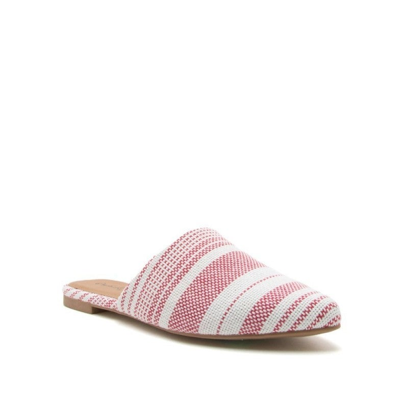 Walking On A Dream Striped Mules in Red