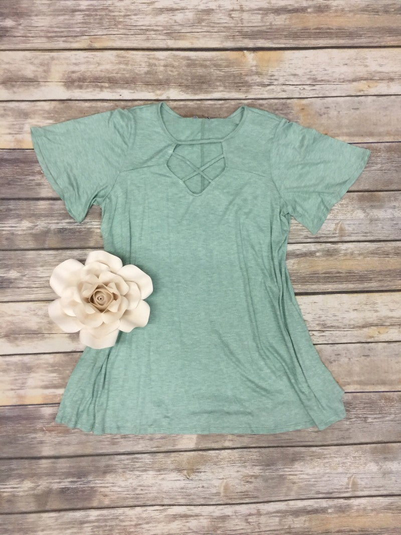 Never Let Go Short Sleeve Top With Criss Cross Neck In Mint - Sizes 4-18