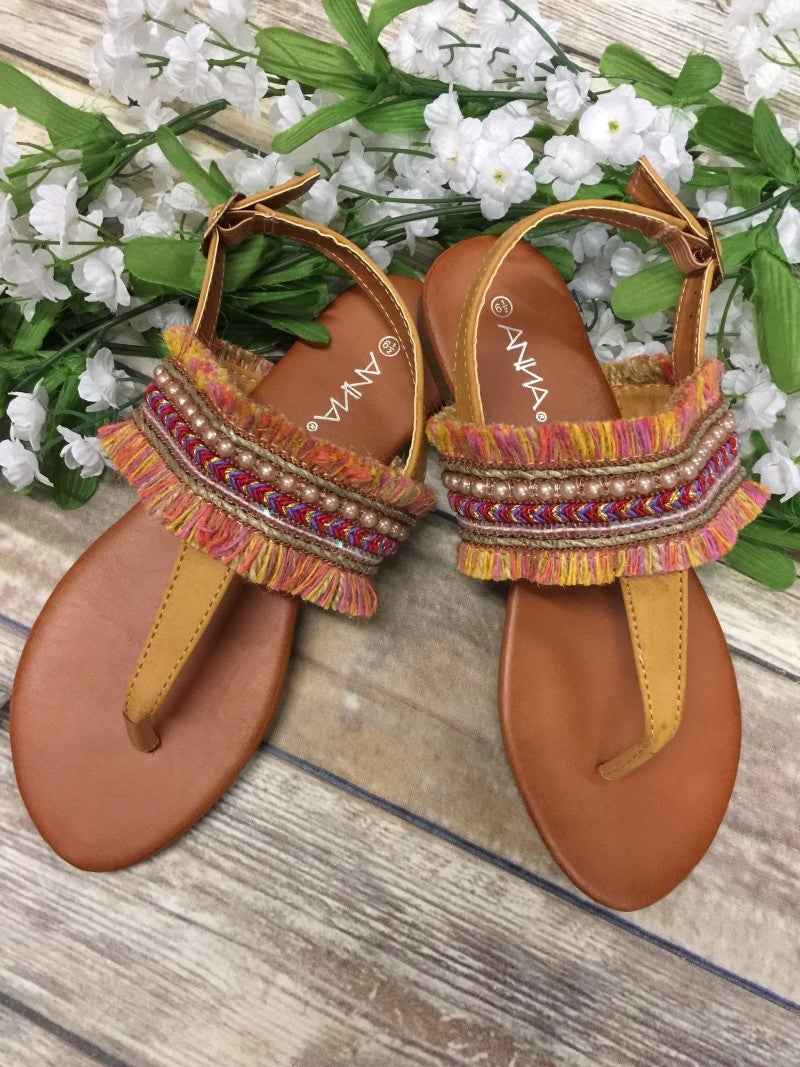 Feeling Festive Sandals With Fringe Detail In Camel - Sizes 6-10