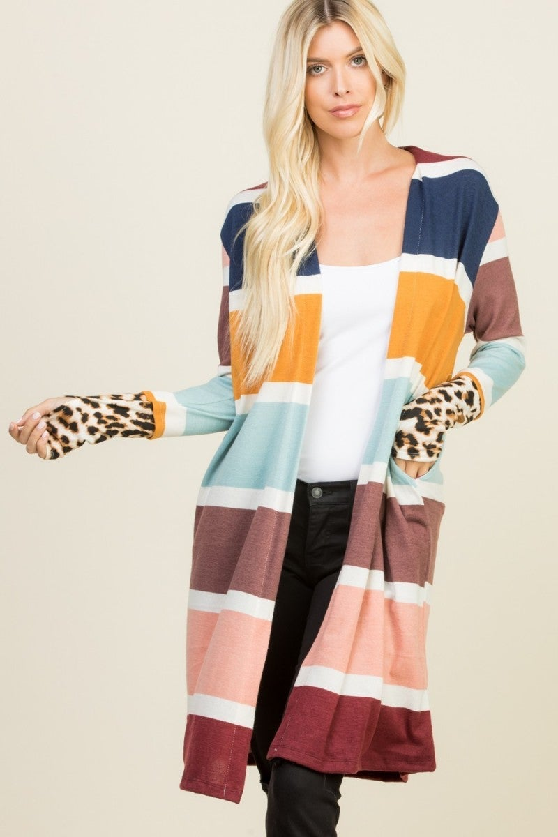 Frankly I'm Excited Multicolor Cardigan With Leopard Accent Sleeve - Sizes 12-20