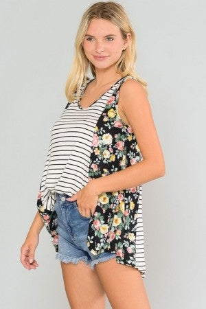 Enjoying the Sunshine Striped Contrast Sleeveless Top in Multiple Prints - Sizes 4-20