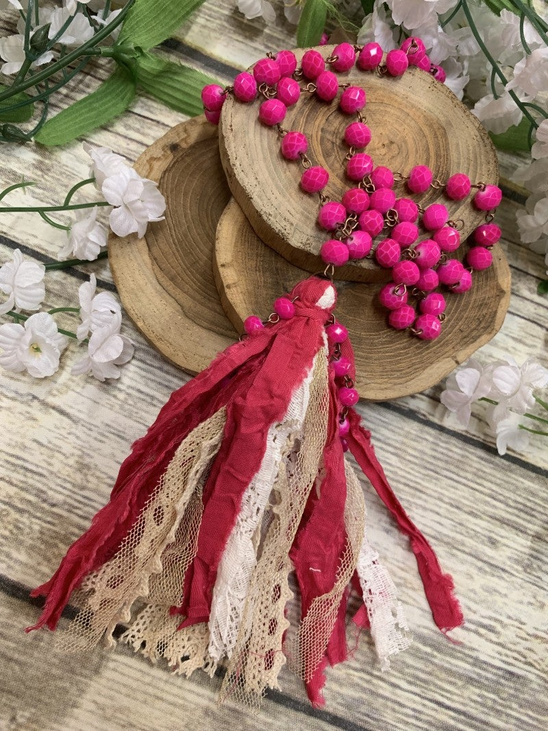 My Only Wish Beaded Necklace With Tassel In Hot Pink