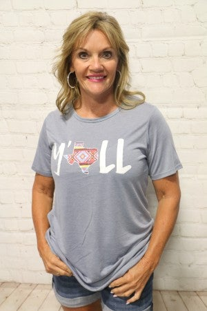 Y'all Graphic Tee With Aztec Texas Detail- Sizes 4-20