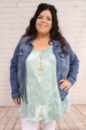 All My Life Mint Tie Dye Tank With Ruffle- Sizes 12-20