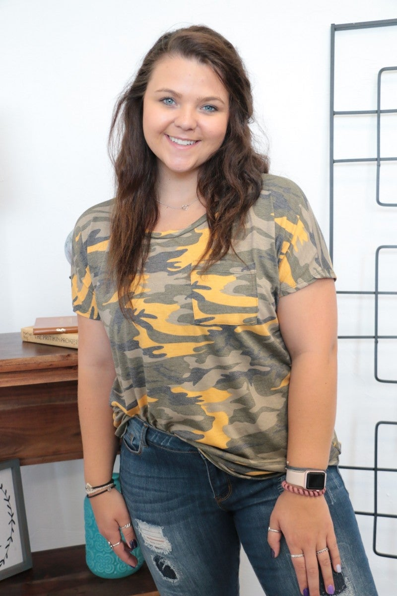 Look What I Found Camo Top - Sizes 12-20