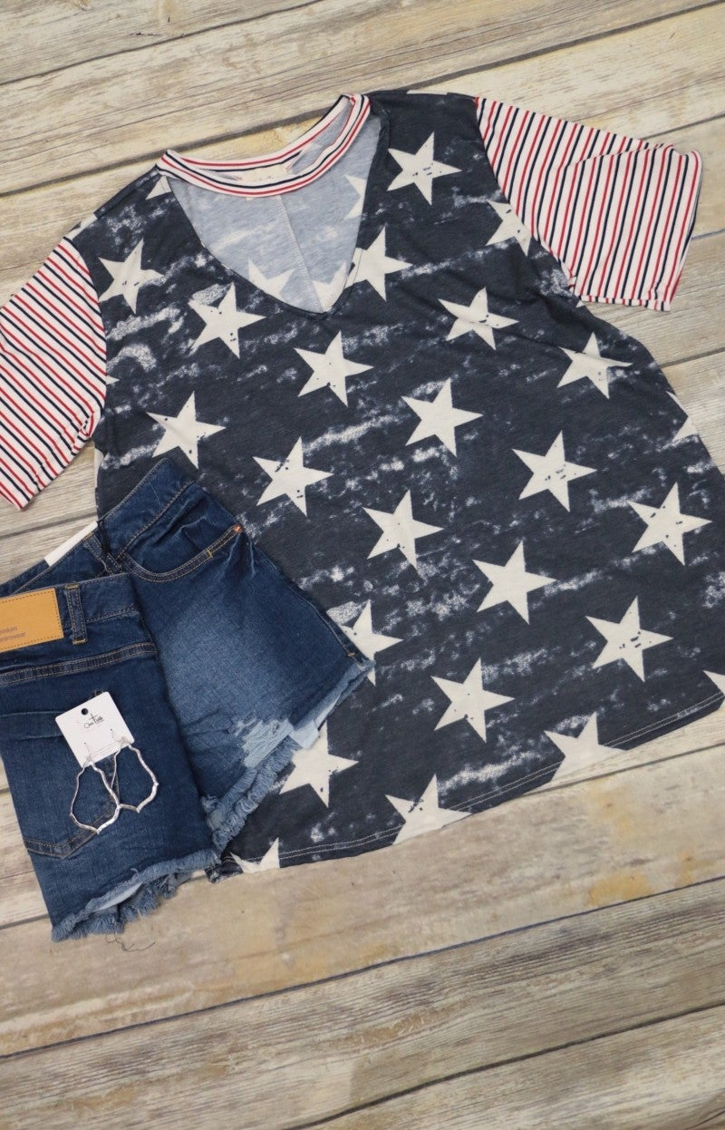 American Saturday Night Stars and Striped Top in Navy - Sizes 4-10