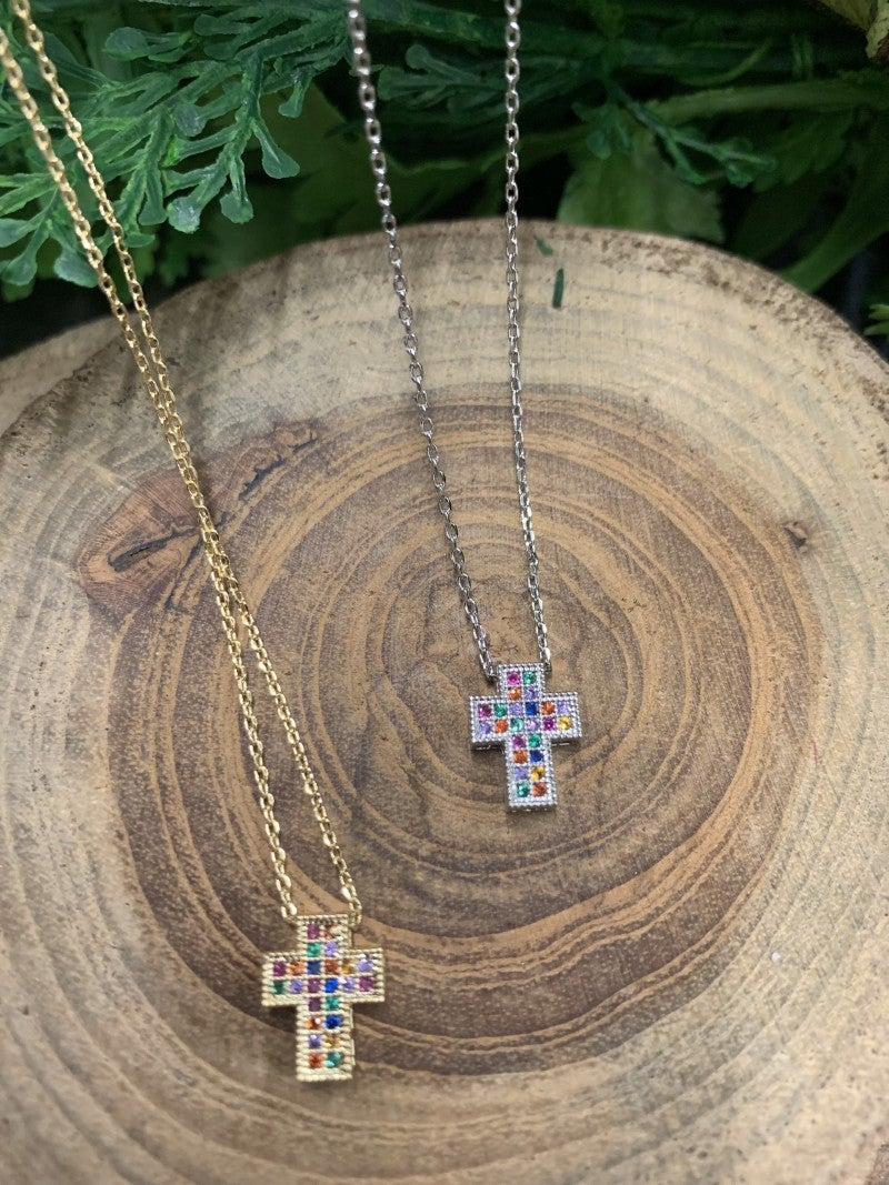 God is Good Colorful Cross Necklace