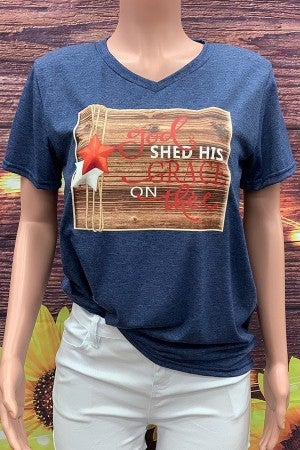 God Shed His Grace On Thee Graphic Tee in Blue - Sizes 4-20