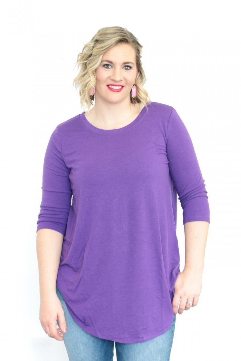 Have It Your Way 3/4 Sleeve Basic Top With Scoop Hem In Purple- Sizes 12-20