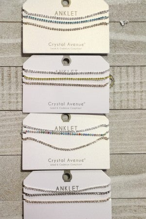 Night On The Town Set of 3 Strand Crystal Ankle Bracelet In Multiple Colors