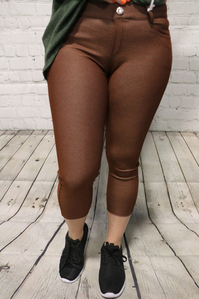 The Mila Thin Comfy Capri Length Jeggings ~ Brown~ Sizes 4-10 *Final Sale*