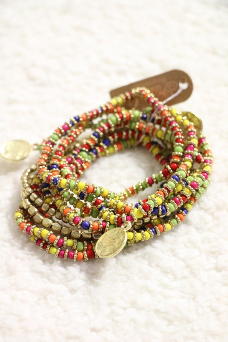 Luckiest Day Multi Strand Beaded Stretch Bracelet