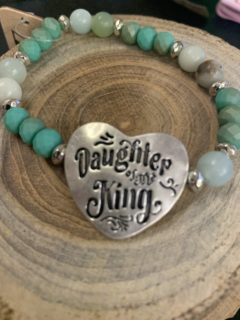 Daughter Of The King Beaded Stretch Bracelet - Assorted Colors
