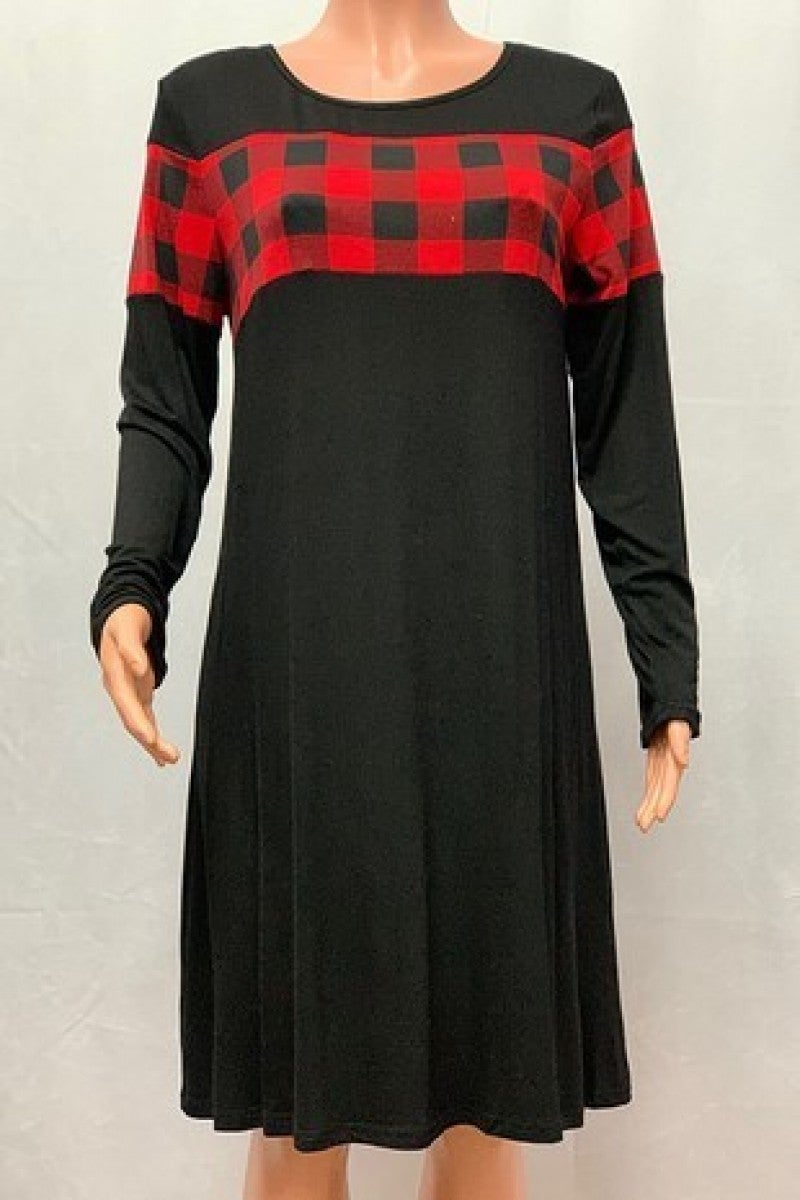 Couldn't Love You More Black & Buffalo Plaid Dress Sizes 4-20