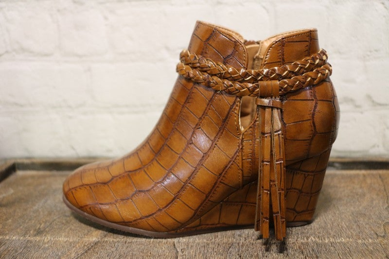 Staying Alive Faux Brown Crocodile Wedge Bootie-Sizes6-10