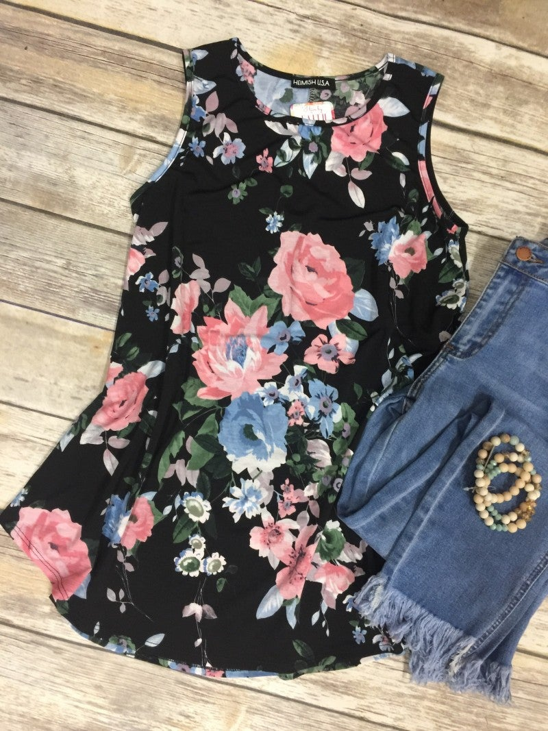 Can't Keep Up Floral Tank - Sizes 4-20