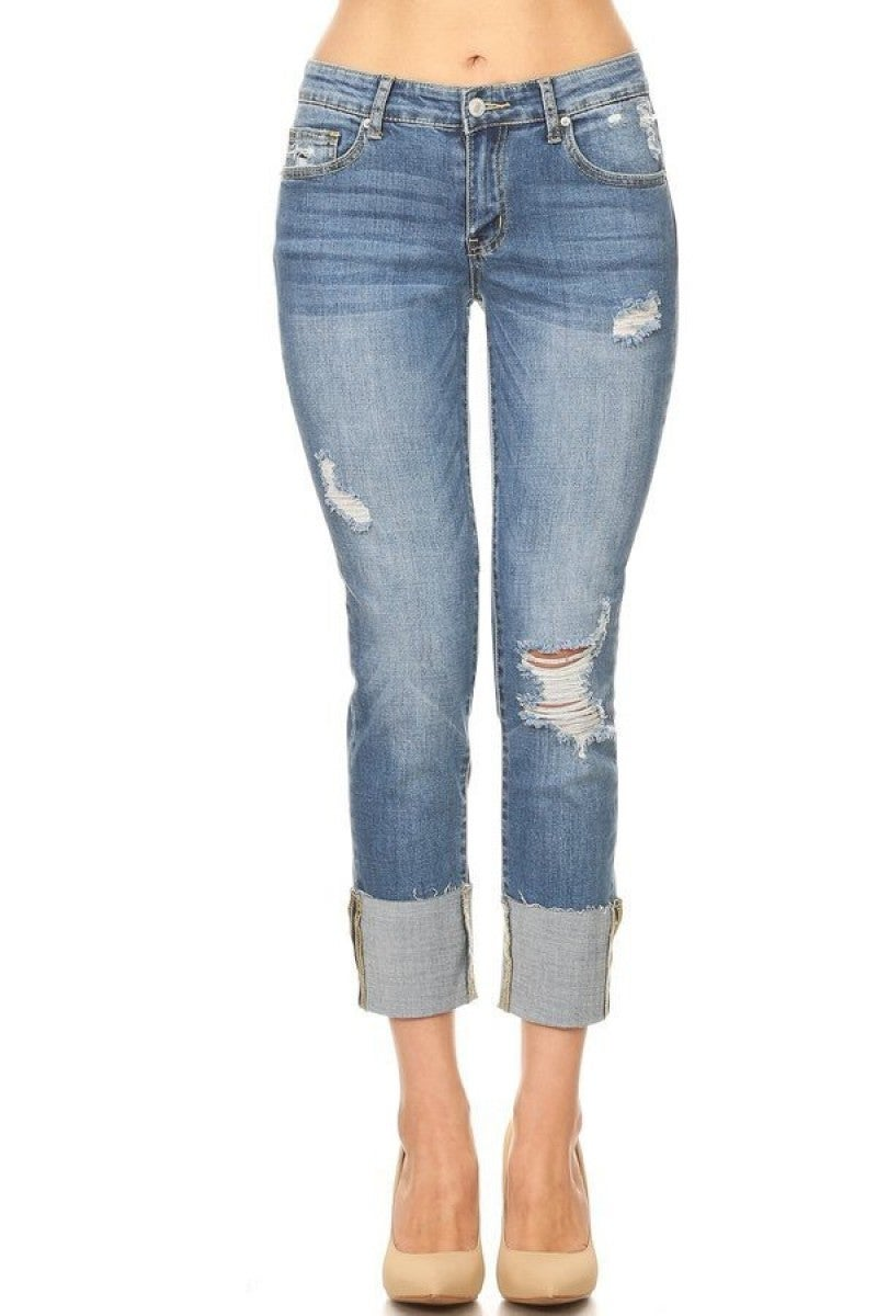 The Brinnsleigh Cuffed Boyfriend Jean In Medium Denim - Sizes 0-15