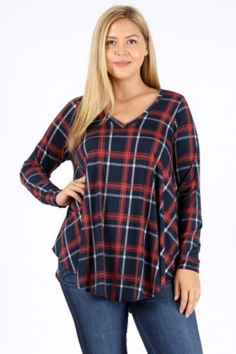Guess I knew That Navy Plaid Tunic Top Sizes 12-20