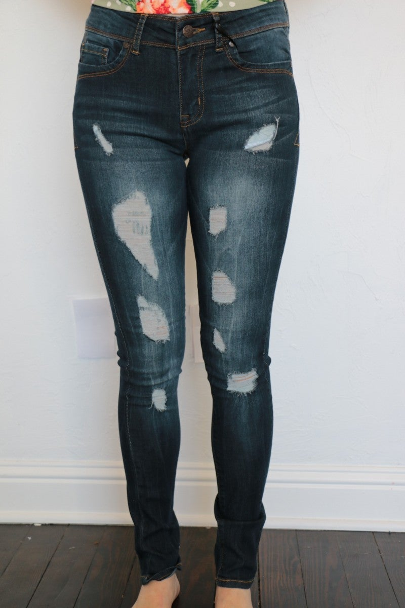 The Kate Distressed Dark Skinny Jeans - Sizes 1-15