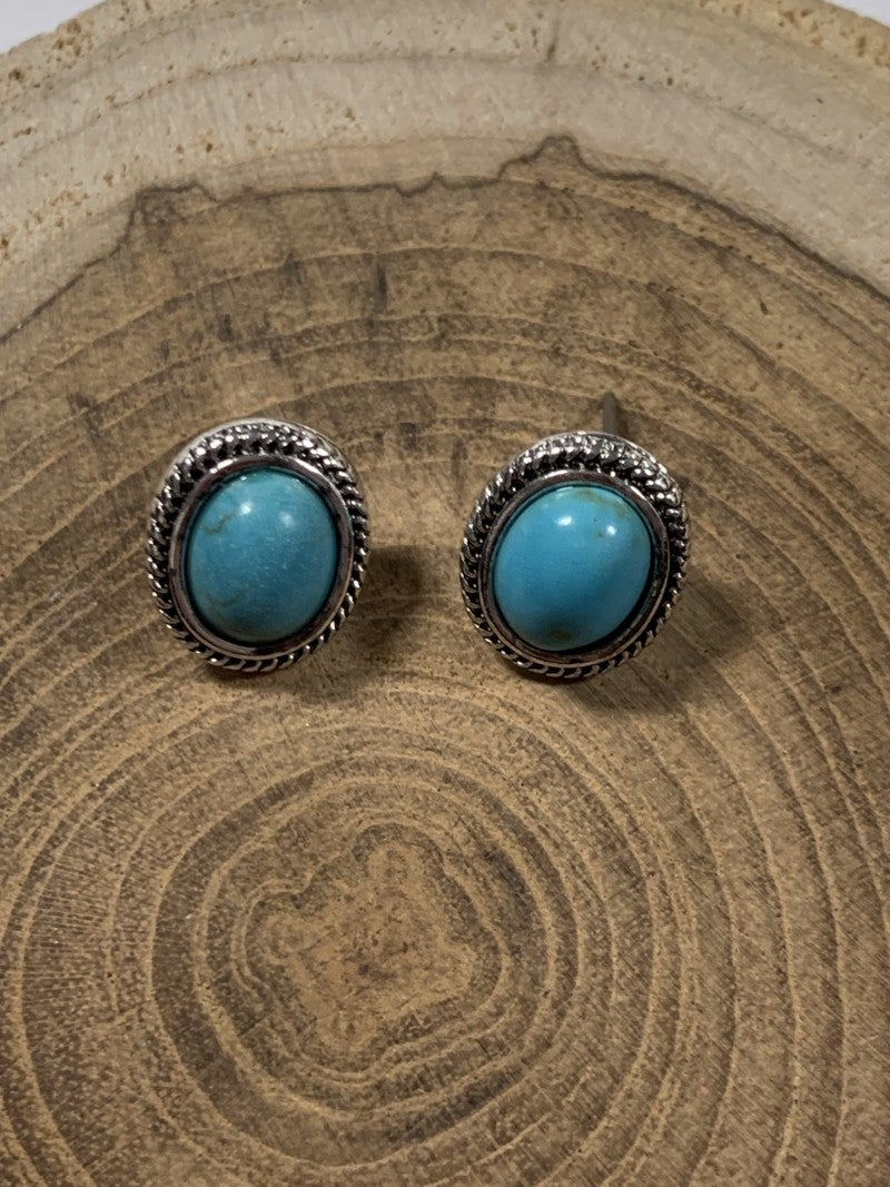 Keeping It Basic Oval Turquoise Stud Earrings