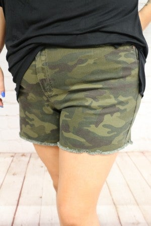 I Can't See You Super Stretchy Camo Shorts with Frayed Hem ~ Sizes 12-20