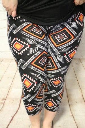 Aztec Print Red and Orange  Capri Legging- Sizes  12-20
