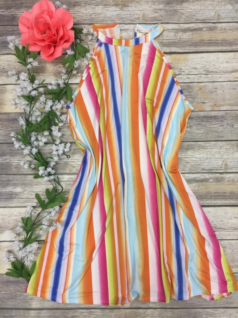 Lift Your Spirits Striped Halter Dress In Size 16-18
