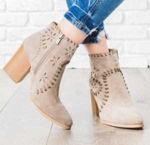 Snow All Year Tan Booties With Cutout And Leather Detail- Sizes 6-10