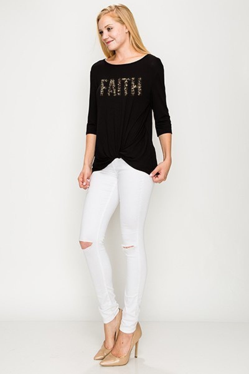 Faith Leopard Print Top With Knotted Hem In Black