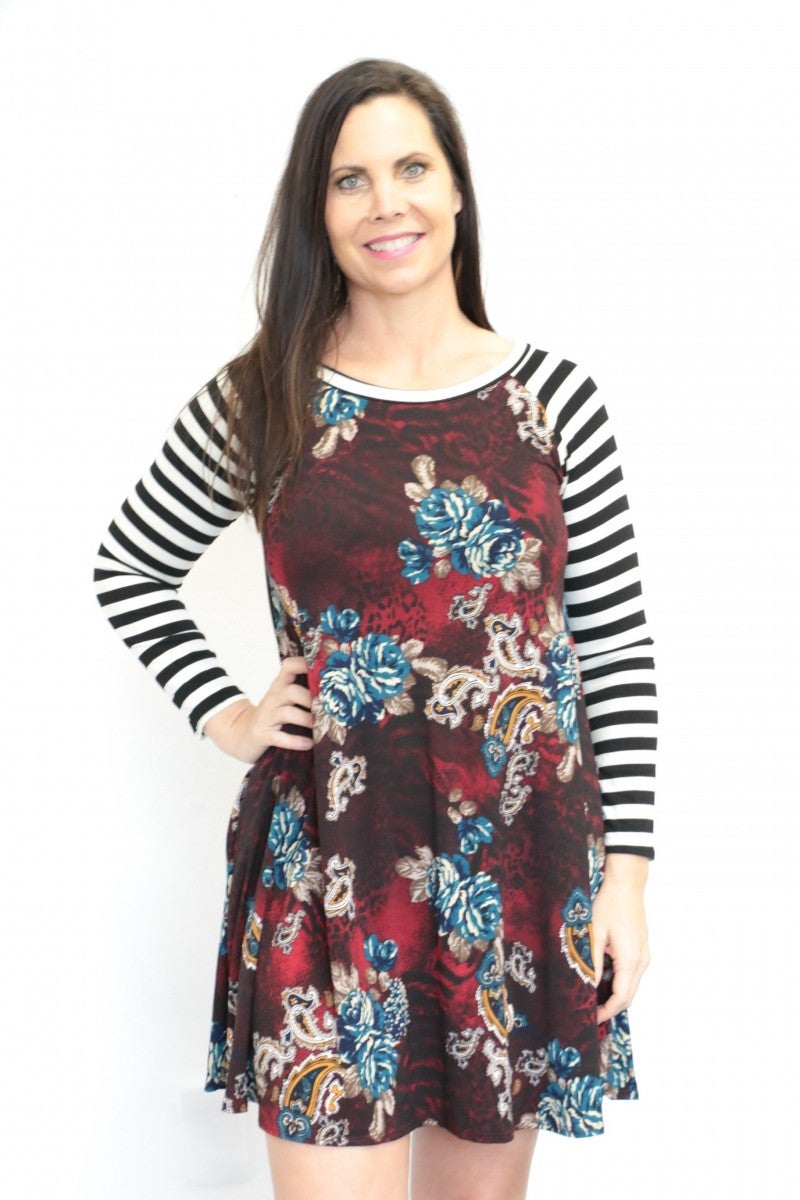 She Is My Girl Striped And Floral Mix Print Raglan Dress In Wine - Sizes 4-10