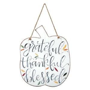 Grateful, Thankful, Blessed Door Hanger In Cream