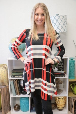 My Favorite Time Of The Year Plaid And Striped Dress With Pockets- Sizes 4-20