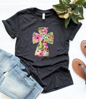 Oh So Cute Floral & Leopard Cross Graphic Tee In Black- Sizes 4-12 **PRE-ORDER**
