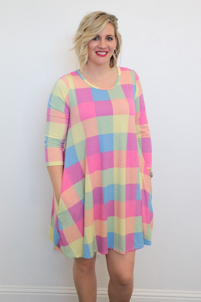 I'm Gonna Make It Through 3/4 Sleeve Checker Print Dress In Pink - Sizes 4-20