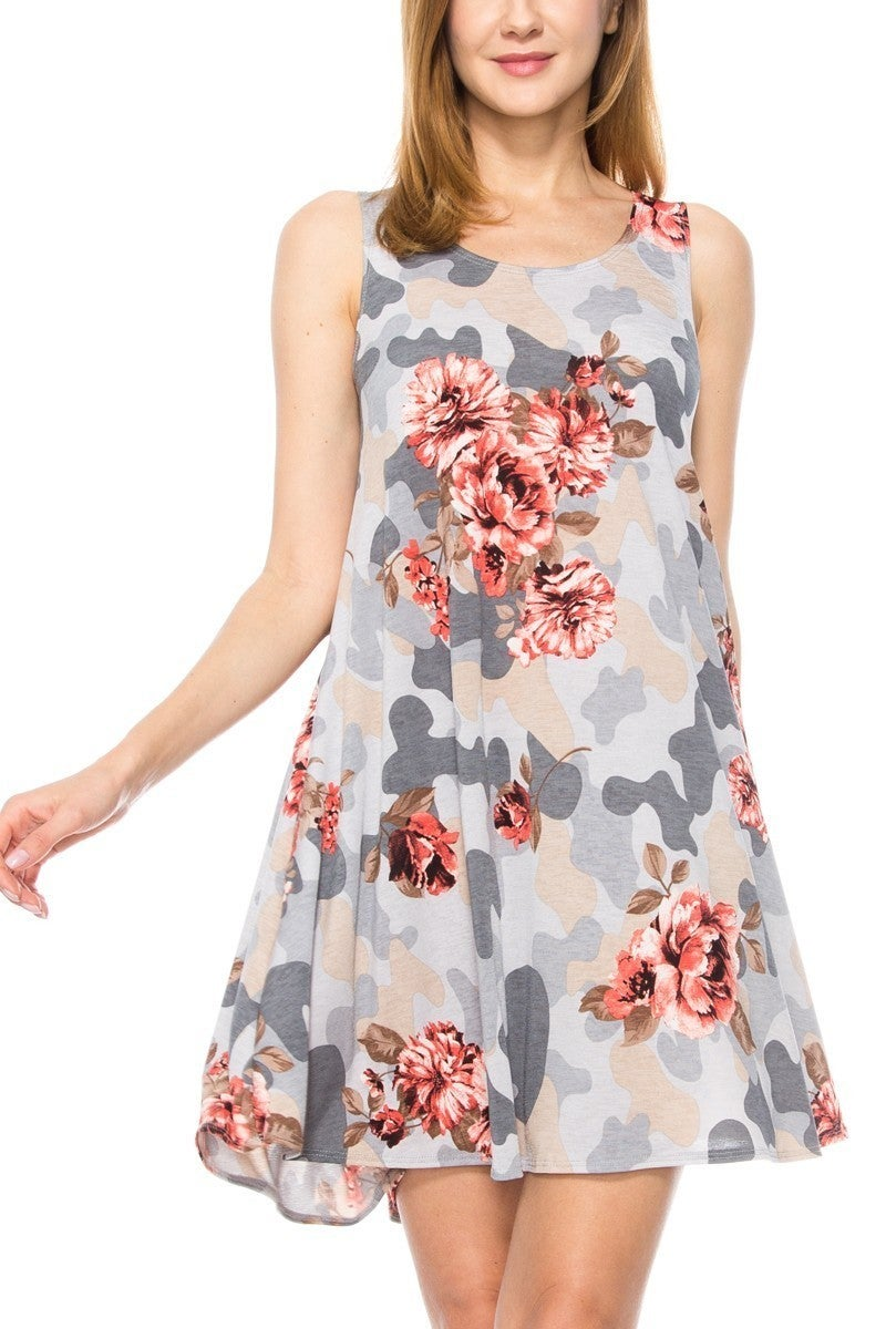 You Amaze Me Camo & Floral Dress - Sizes 4-20