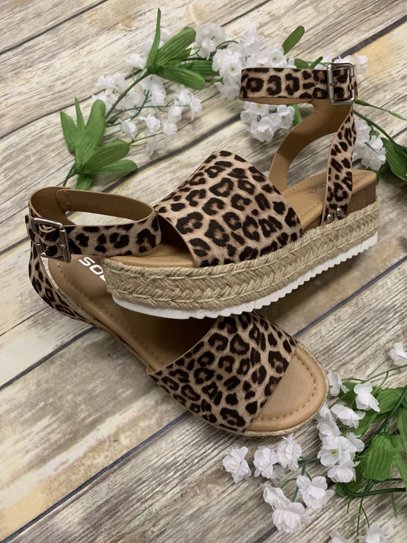 One Step Higher Espadrille Sandals - Leopard