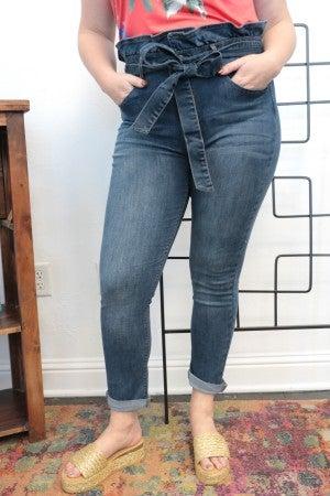 The Krislynn Paper Bag High Waist Skinny Jeans - Sizes 1-15