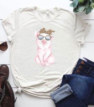 Cool Piggy Graphic Tee In Oatmeal- Sizes 4-12