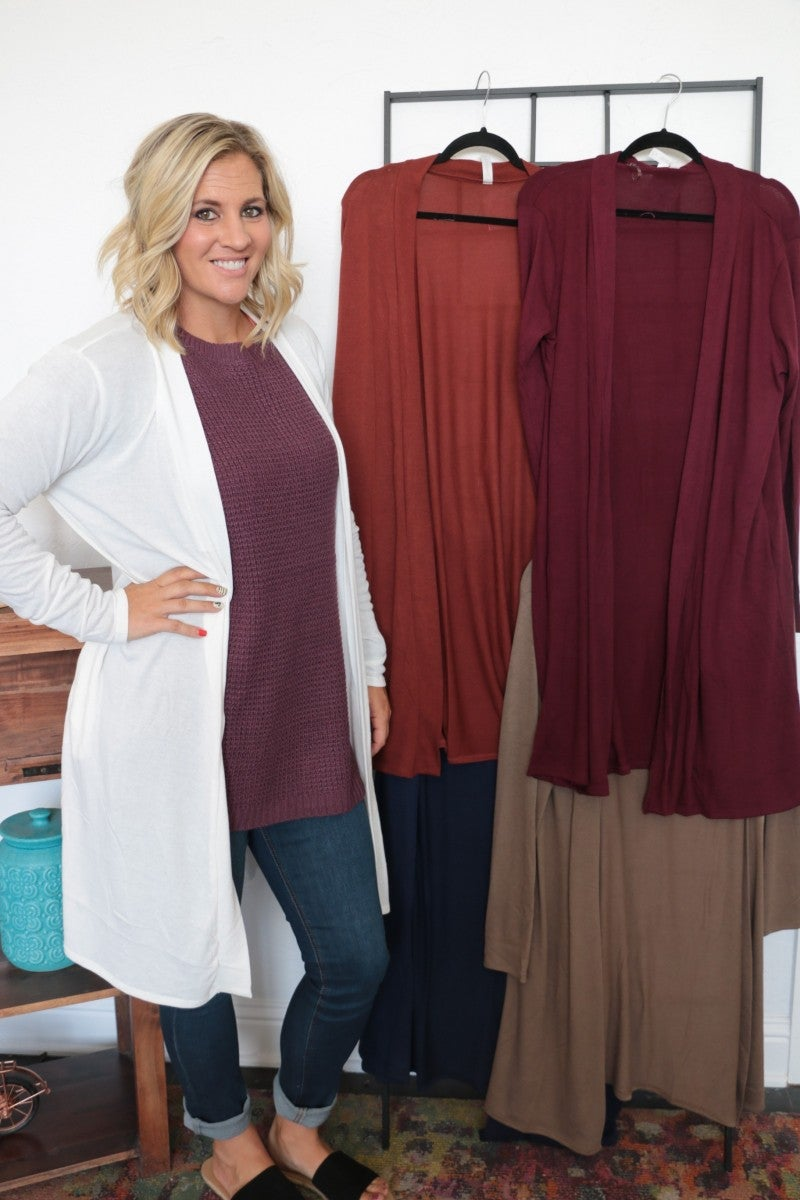 Simply Subtle Solid Cardigan - Multiple Colors - Sizes 12-20