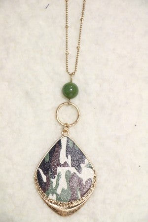 Hidden From You Long Gold Necklace With Camo Pendant