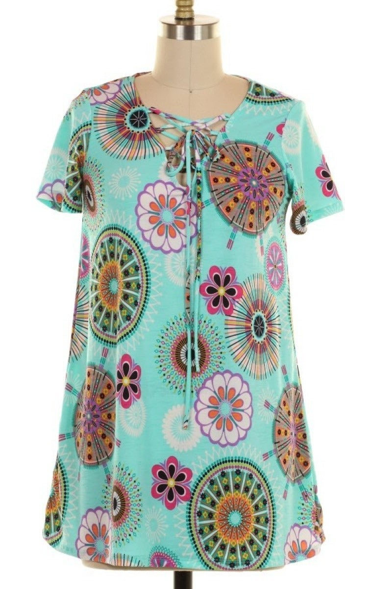 All We Ever Need Circle Print Top in Mint - Sizes 12-20