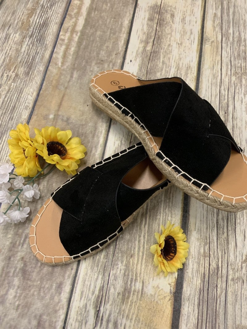 Black Espadrille Criss-Cross Sandals
