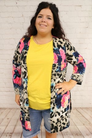 Roses & Leopard Lightweight Cardigan - Sizes 4-20