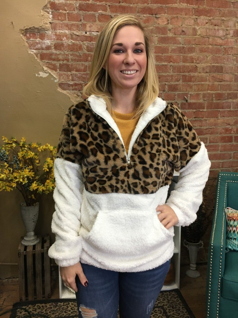 Remember Tonight Leopard Colorblock Sherpa Pullover - Sizes 4-18