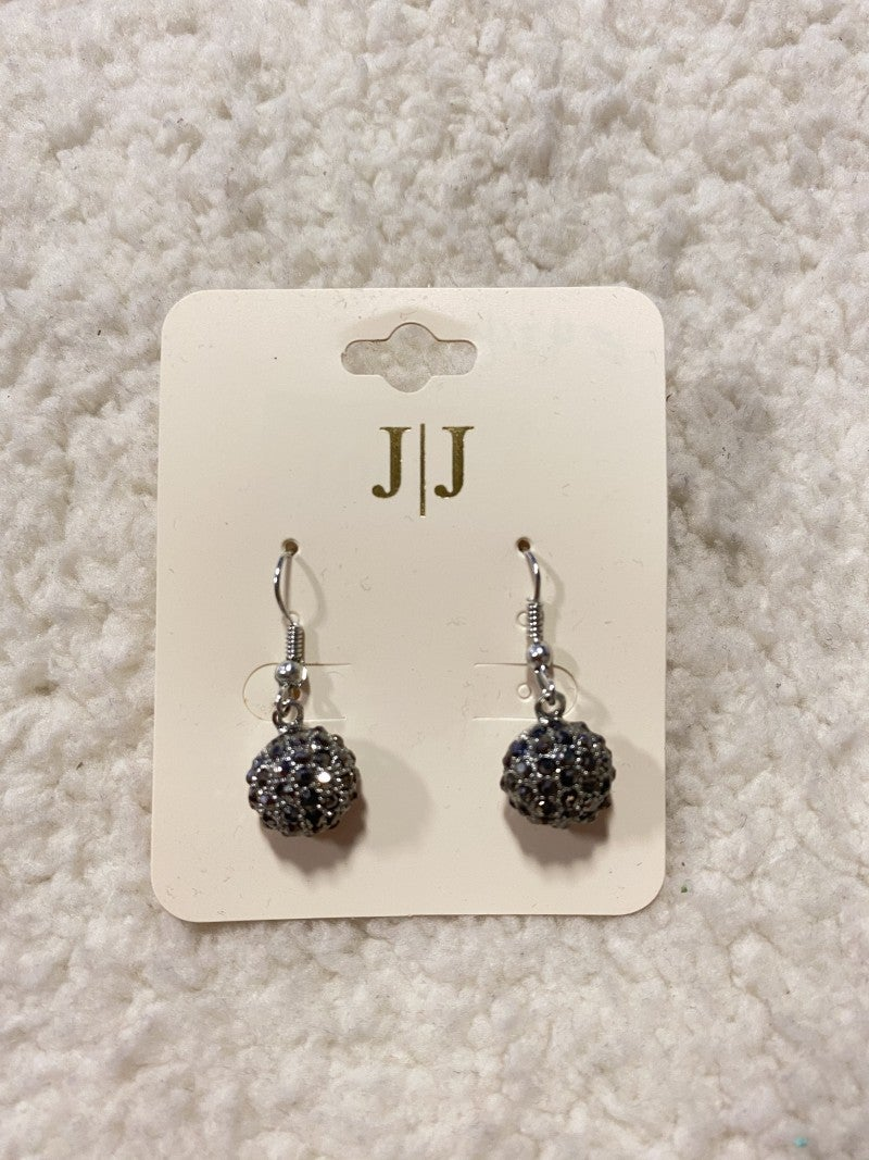 Dangle Silver Ball Earrings with Black Bling