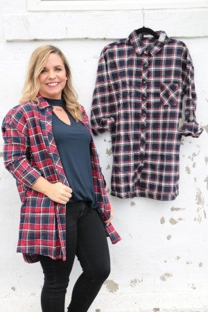Trust in You Oversized Flannel Button Down Sizes 4-10